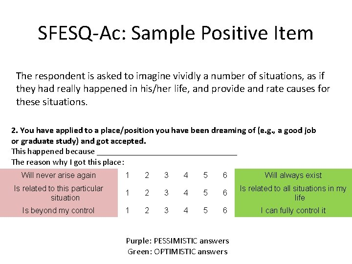 SFESQ-Ac: Sample Positive Item The respondent is asked to imagine vividly a number of