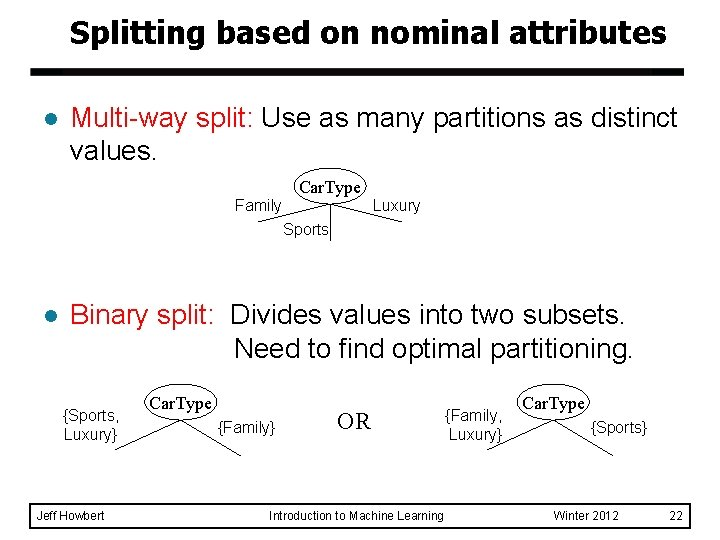 Splitting based on nominal attributes l Multi-way split: Use as many partitions as distinct