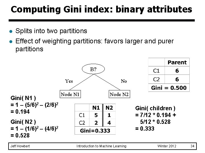 Computing Gini index: binary attributes l l Splits into two partitions Effect of weighting