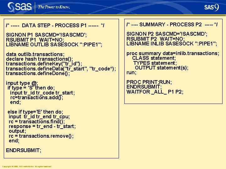 /* ----- DATA STEP - PROCESS P 1 ------ */ /* ---- SUMMARY -
