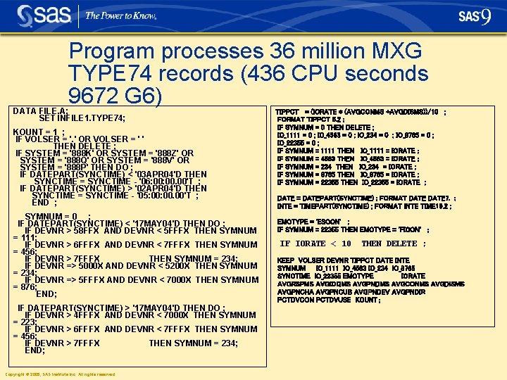 Program processes 36 million MXG TYPE 74 records (436 CPU seconds 9672 G 6)