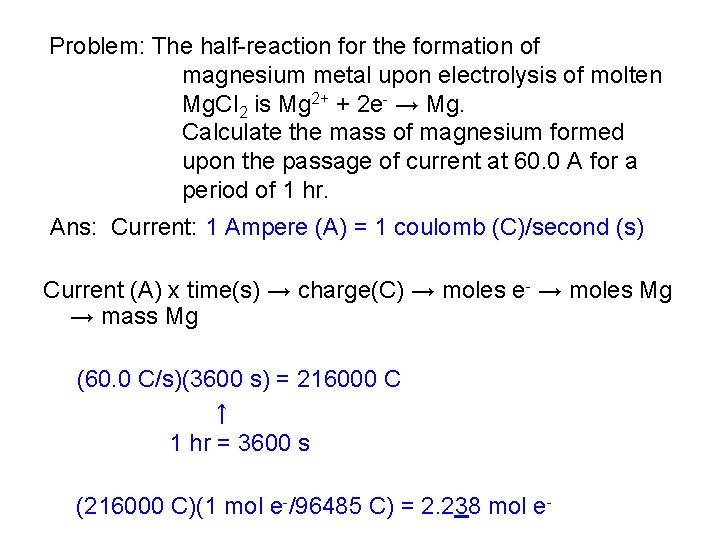 Problem: The half-reaction for the formation of magnesium metal upon electrolysis of molten Mg.