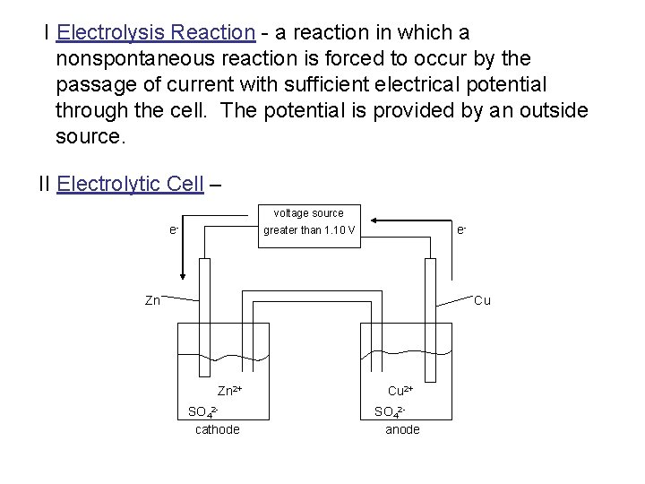 I Electrolysis Reaction - a reaction in which a nonspontaneous reaction is forced to