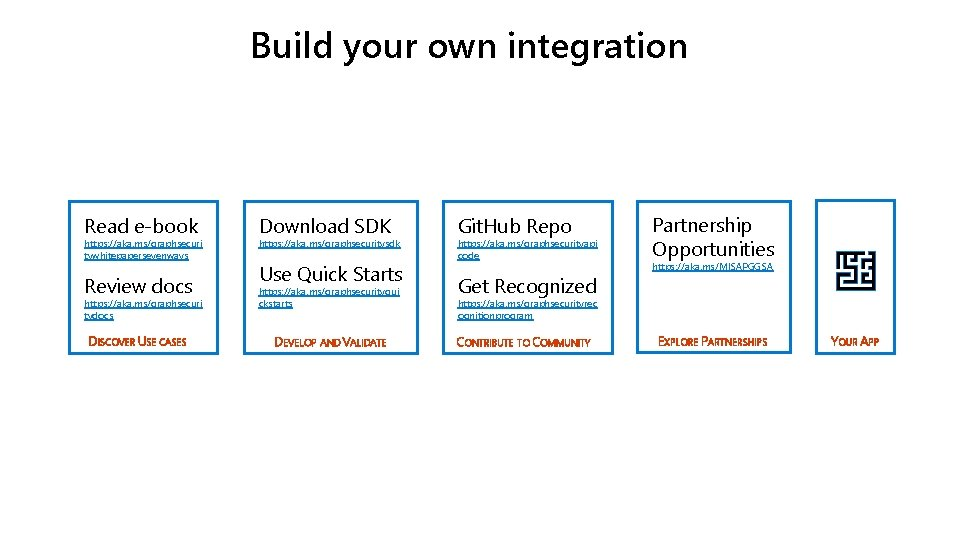 Build your own integration Read e-book https: //aka. ms/graphsecuri tywhitepapersevenways Review docs https: //aka.