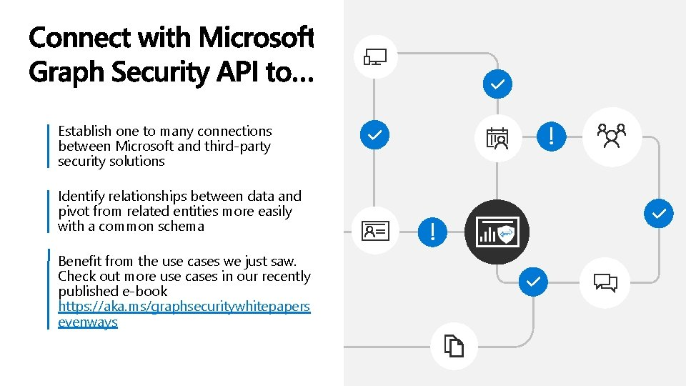 Establish one to many connections between Microsoft and third-party security solutions Identify relationships between