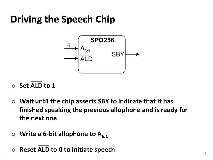 Carnegie Mellon Driving the Speech Chip ¢ ¢ Set ALD to 1 Wait until