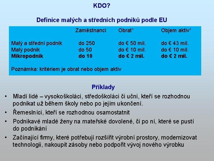KDO? Definice malých a středních podniků podle EU Malý a střední podnik Malý podnik