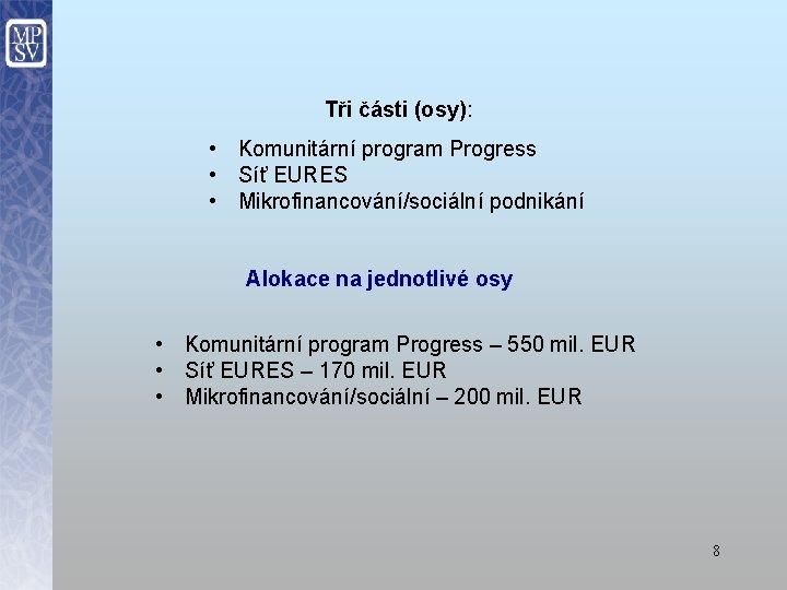 Tři části (osy): • Komunitární program Progress • Síť EURES • Mikrofinancování/sociální podnikání Alokace