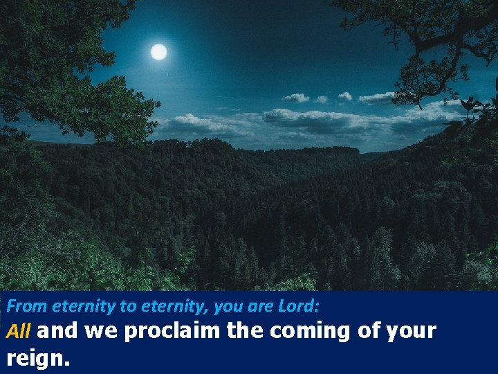 From eternity to eternity, you are Lord: All and we proclaim the coming of