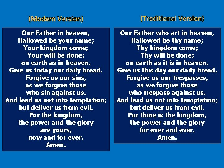 (Modern Version) Our Father in heaven, Hallowed be your name; Your kingdom come; Your