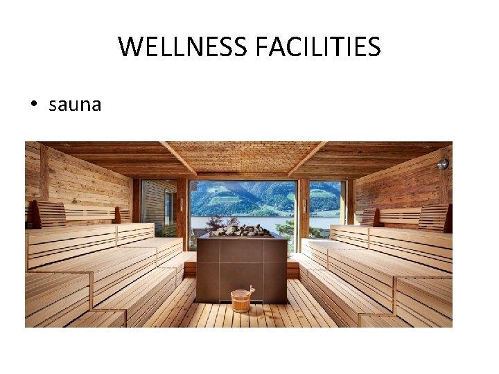 WELLNESS FACILITIES • sauna