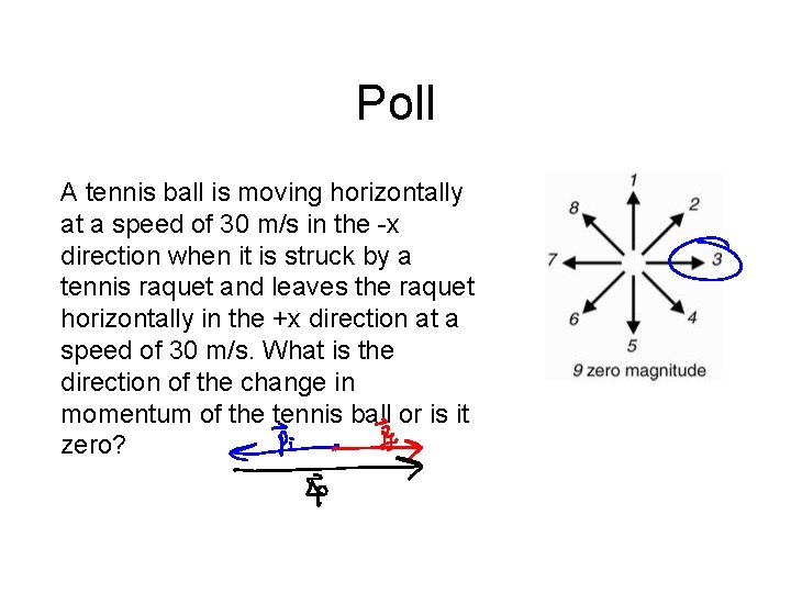 Poll A tennis ball is moving horizontally at a speed of 30 m/s in