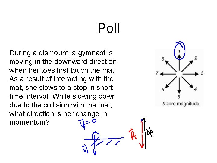 Poll During a dismount, a gymnast is moving in the downward direction when her
