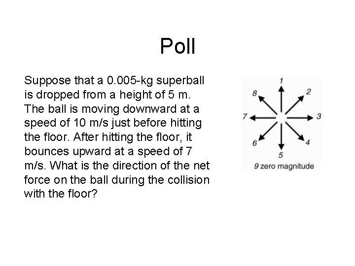 Poll Suppose that a 0. 005 -kg superball is dropped from a height of