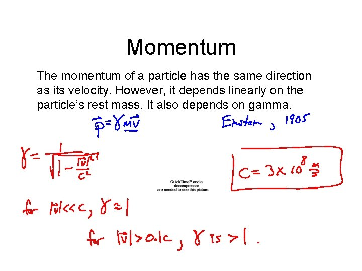 Momentum The momentum of a particle has the same direction as its velocity. However,