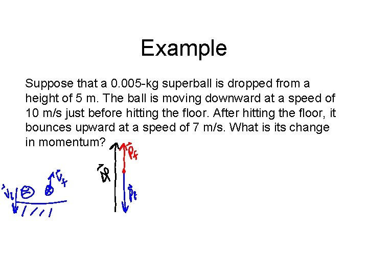 Example Suppose that a 0. 005 -kg superball is dropped from a height of