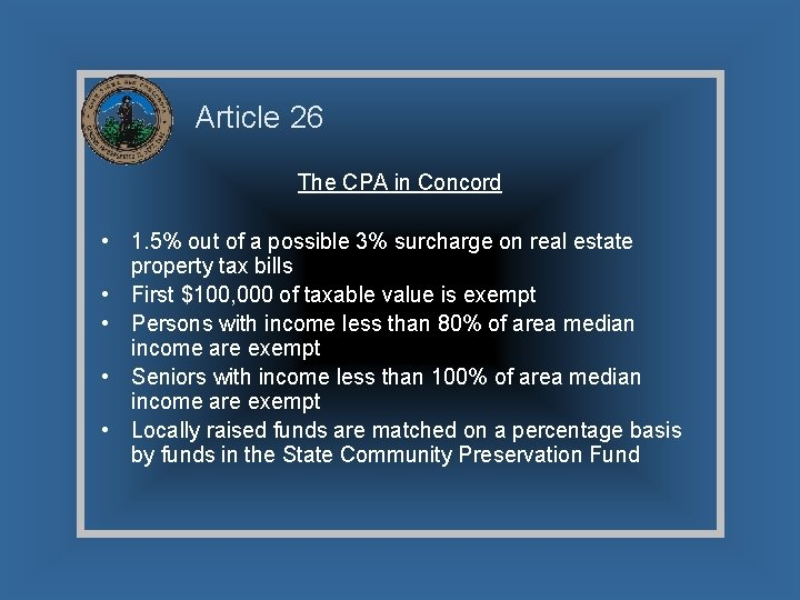 Article 26 The CPA in Concord • 1. 5% out of a possible 3%