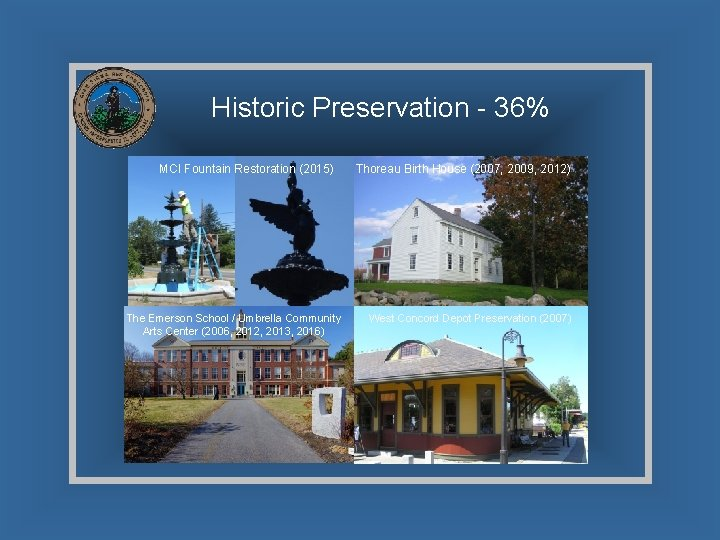 Historic Preservation - 36% MCI Fountain Restoration (2015) The Emerson School / Umbrella Community