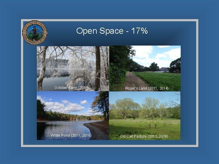 Open Space - 17% October Farm (2016) White Pond (2011, 2016) Roger's Land (2011,