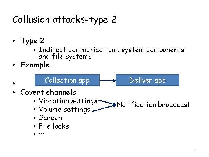 Collusion attacks-type 2 • Type 2 • Indirect communication : system components and file