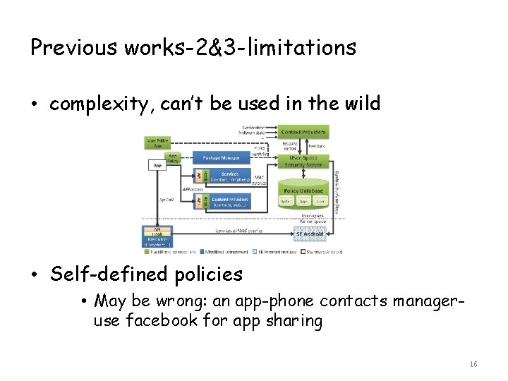 Previous works-2&3 -limitations • complexity, can't be used in the wild • Self-defined policies