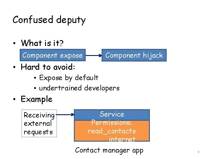 Confused deputy • What is it? Component expose Component hijack • Hard to avoid: