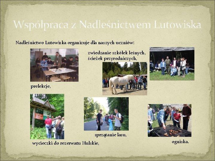 Współpraca z Nadleśnictwem Lutowiska Nadleśnictwo Lutowiska organizuje dla naszych uczniów: zwiedzanie szkółek leśnych, ścieżek