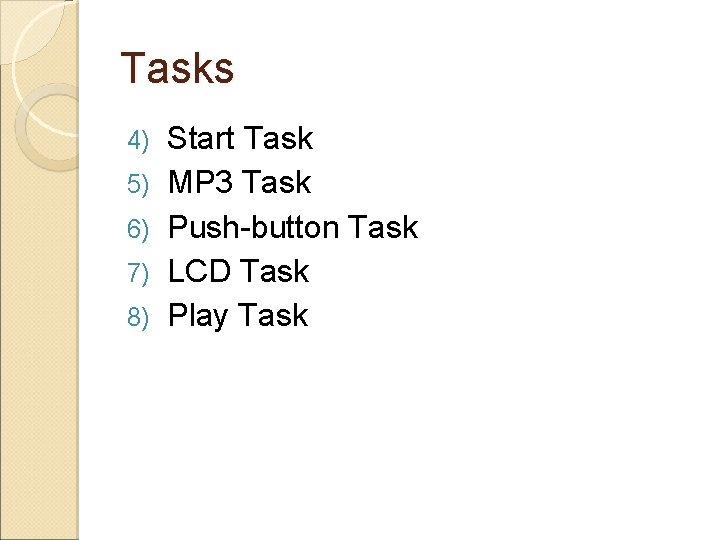 Tasks 4) 5) 6) 7) 8) Start Task MP 3 Task Push-button Task LCD