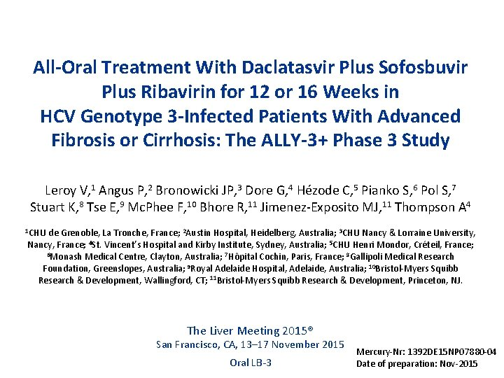 All-Oral Treatment With Daclatasvir Plus Sofosbuvir Plus Ribavirin for 12 or 16 Weeks in