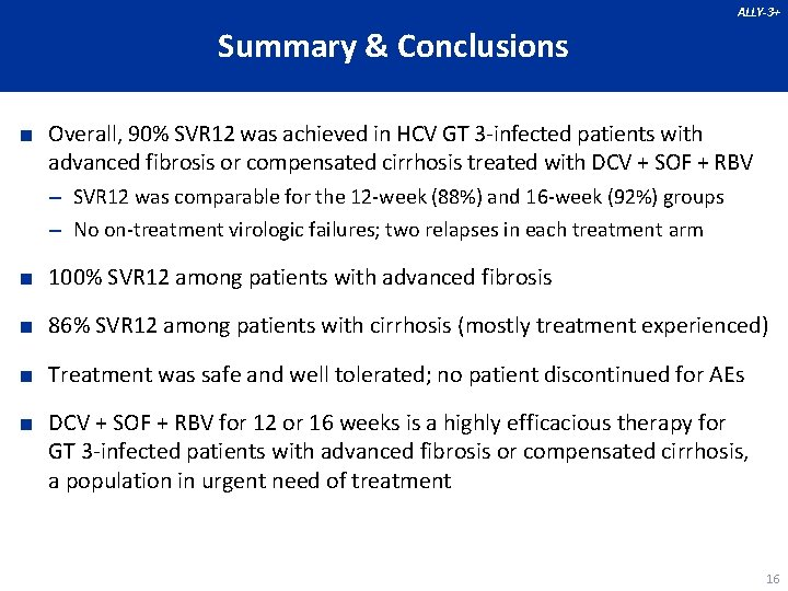 ALLY-3+ Summary & Conclusions ■ Overall, 90% SVR 12 was achieved in HCV GT