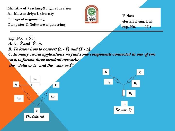 Ministry of teaching& high education Al- Mustansiriya University College of engineering Computer & Software