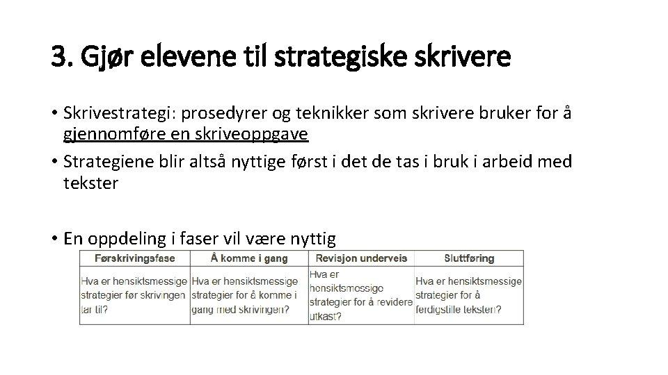 3. Gjør elevene til strategiske skrivere • Skrivestrategi: prosedyrer og teknikker som skrivere bruker