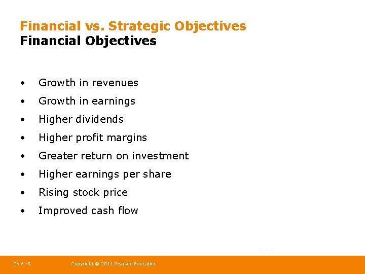 Financial vs. Strategic Objectives Financial Objectives • Growth in revenues • Growth in earnings