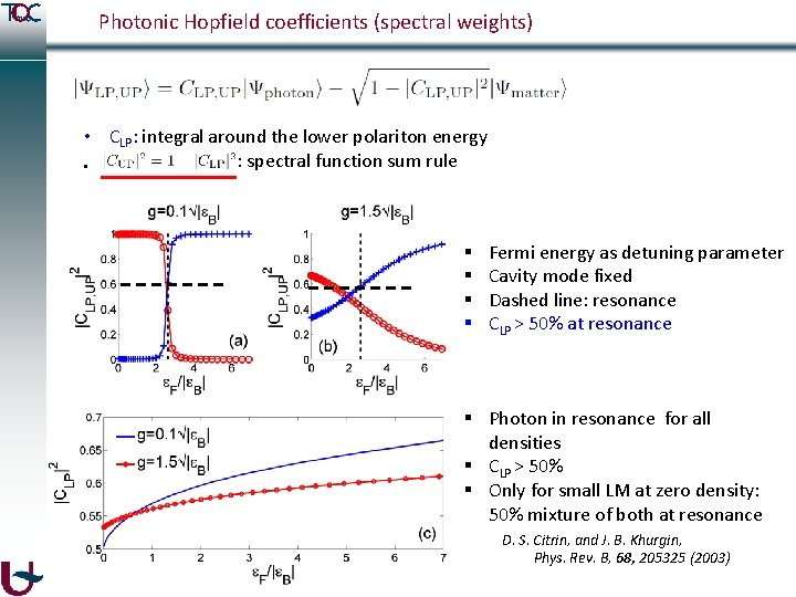 Photonic Hopfield coefficients (spectral weights) • CLP: integral around the lower polariton energy :