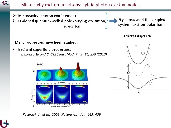 Microcavity exciton-polaritons: hybrid photon-exciton modes Ø Microcavity: photon confinement Ø Undoped quantum well: dipole