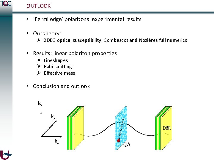 OUTLOOK • `Fermi edge' polaritons: experimental results • Our theory: Ø 2 DEG optical