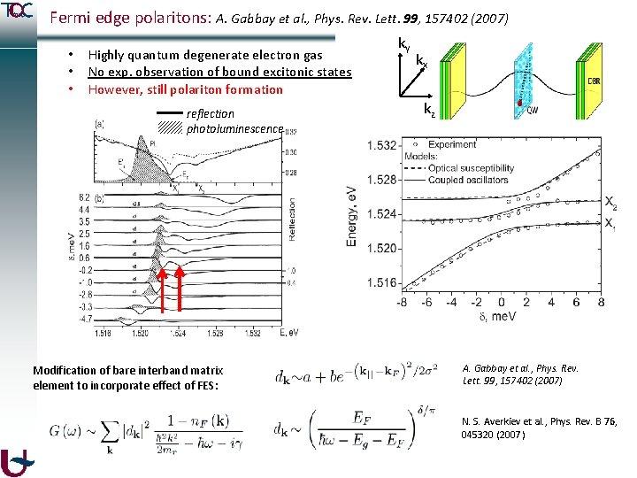 Fermi edge polaritons: A. Gabbay et al. , Phys. Rev. Lett. 99, 157402 (2007)