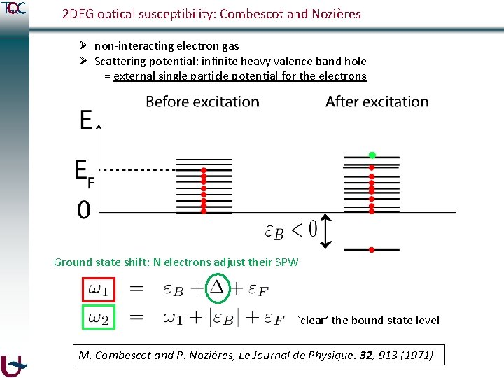2 DEG optical susceptibility: Combescot and Nozières Ø non-interacting electron gas Ø Scattering potential: