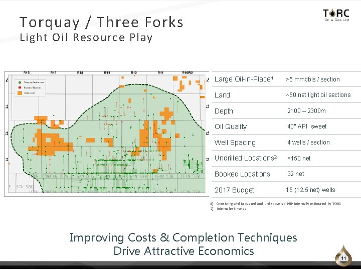 Torquay / Three Forks Light Oil Resource Play Large Oil-in-Place 1 >5 mmbbls /