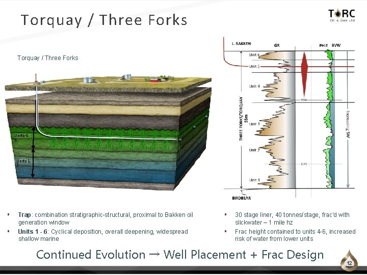 Torquay / Three Forks Units 46 Units 13 § Trap: combination stratigraphic-structural, proximal to