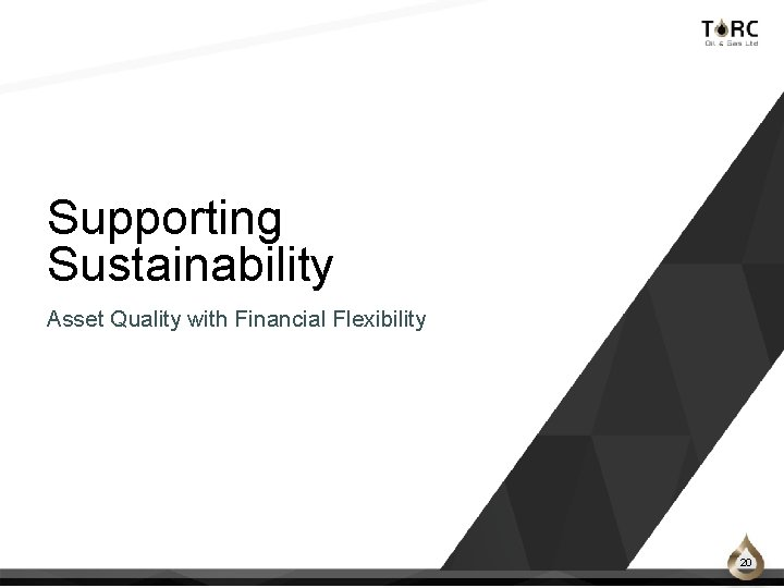Supporting Sustainability Asset Quality with Financial Flexibility 20