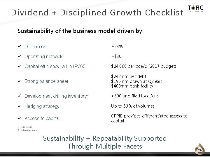 Dividend + Disciplined Growth Checklist Sustainability of the business model driven by: ü Decline