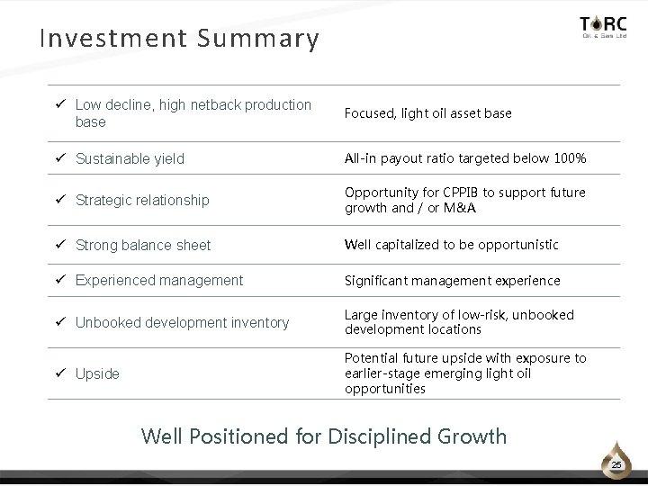 Investment Summary ü Low decline, high netback production base Focused, light oil asset base