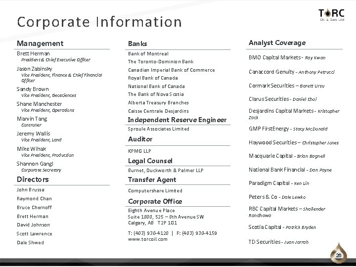 Corporate Information Management Banks Brett Herman Bank of Montreal The Toronto‐Dominion Bank Canadian Imperial