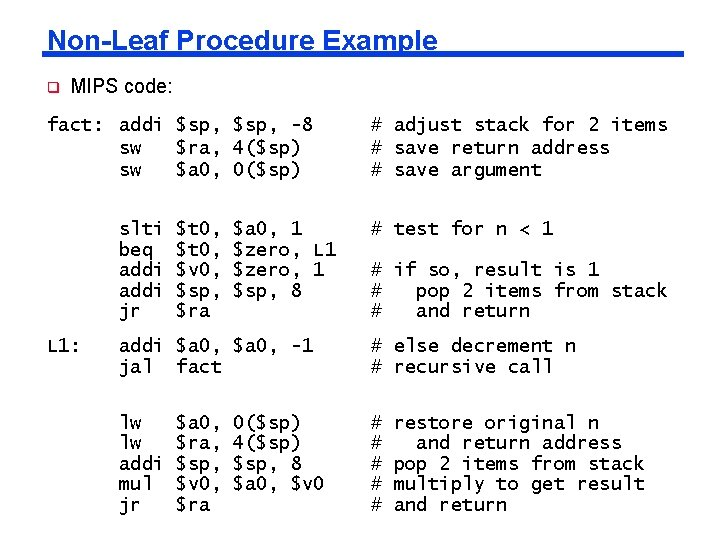 Non-Leaf Procedure Example q MIPS code: fact: addi $sp, -8 sw $ra, 4($sp) sw