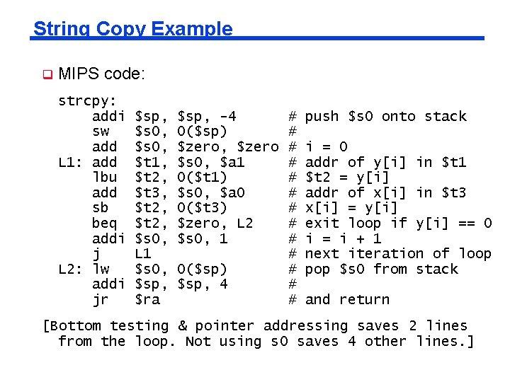 String Copy Example q MIPS code: strcpy: addi sw add L 1: add lbu