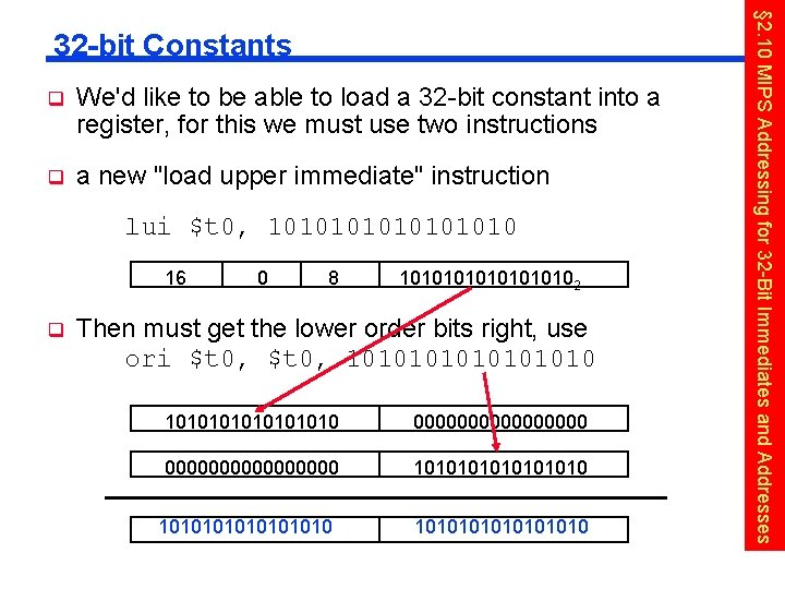 q We'd like to be able to load a 32 -bit constant into a