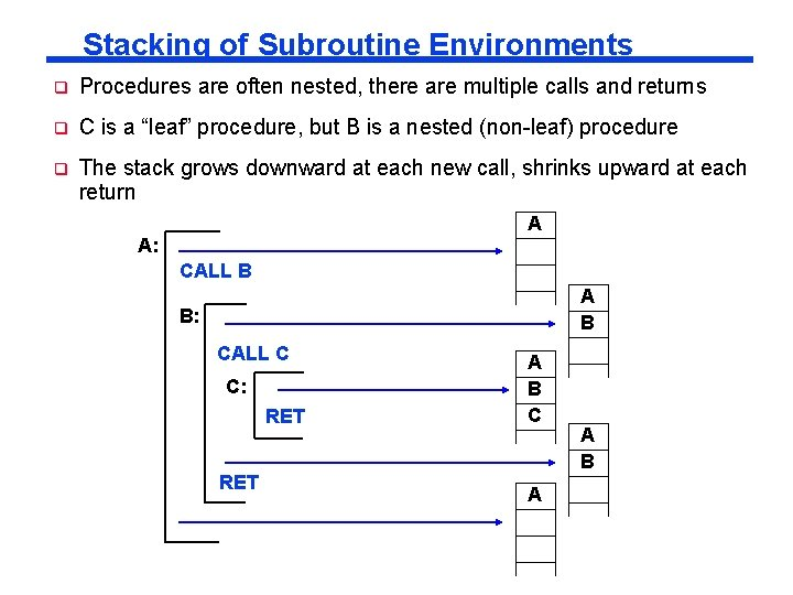 Stacking of Subroutine Environments q Procedures are often nested, there are multiple calls and
