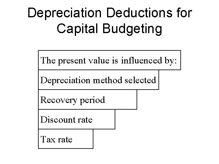 Depreciation Deductions for Capital Budgeting The present value is influenced by: Depreciation method selected