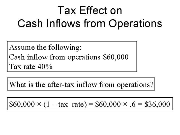 Tax Effect on Cash Inflows from Operations Assume the following: Cash inflow from operations
